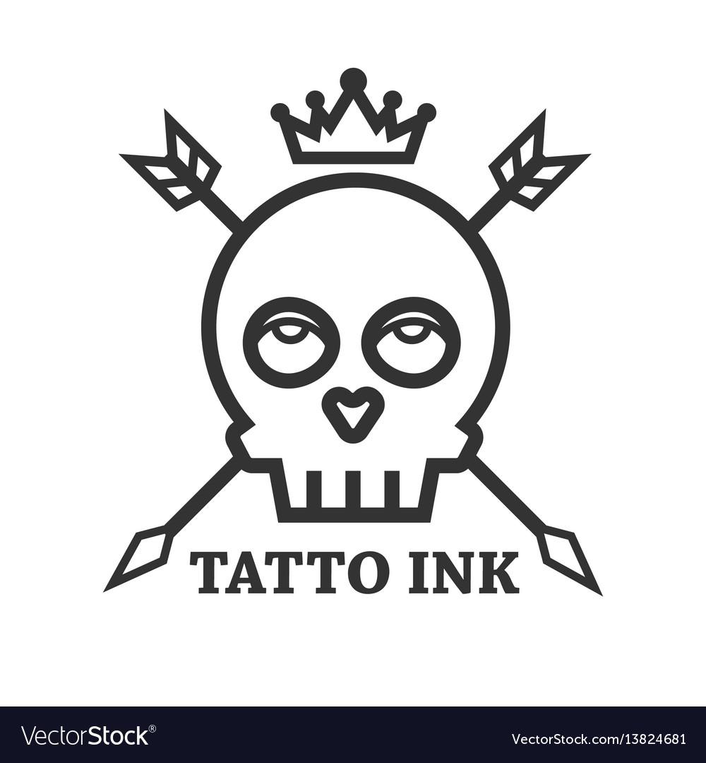 Tattoo ink black skull isolated on white