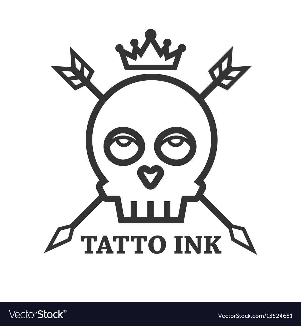Tattoo ink of black skull isolated on white