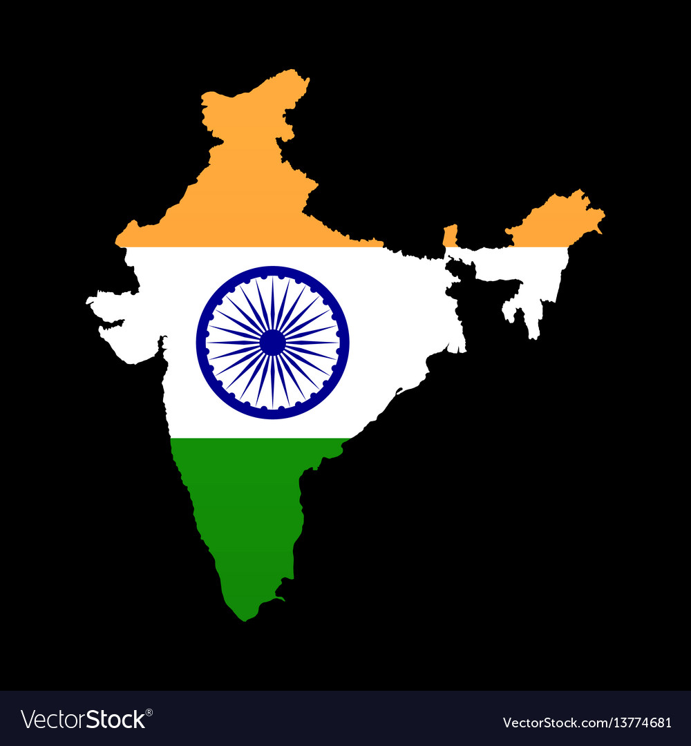 The detailed map of the india with flag vector image