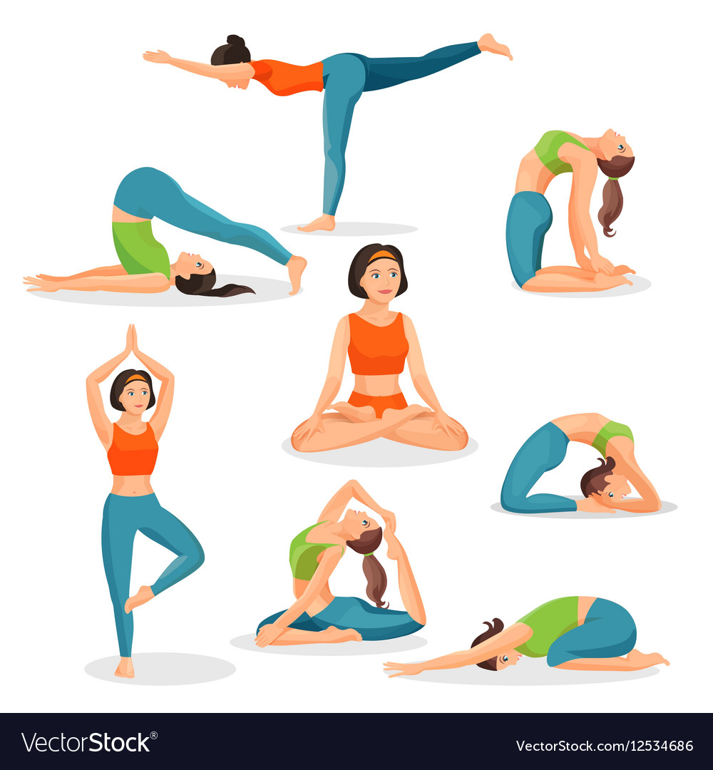 Asana yoga collection girls doing sport in
