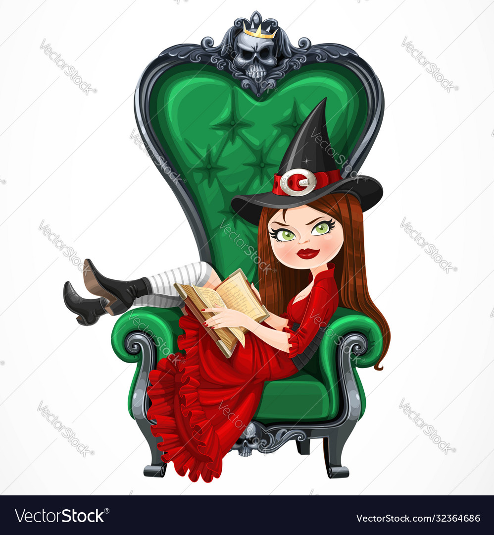Beautiful witch in red dress sitting in armchair