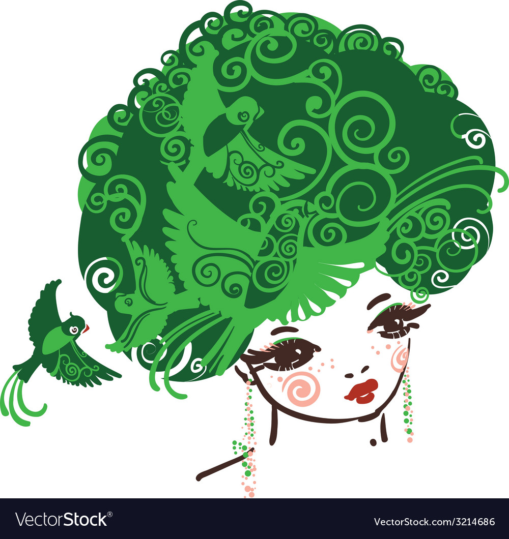 Birdy girl green vector image