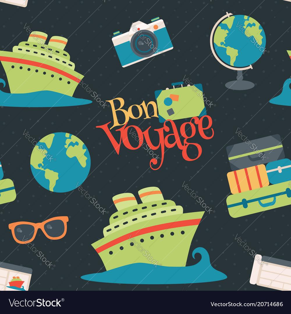 Bon voyage cruise travel navy seamless