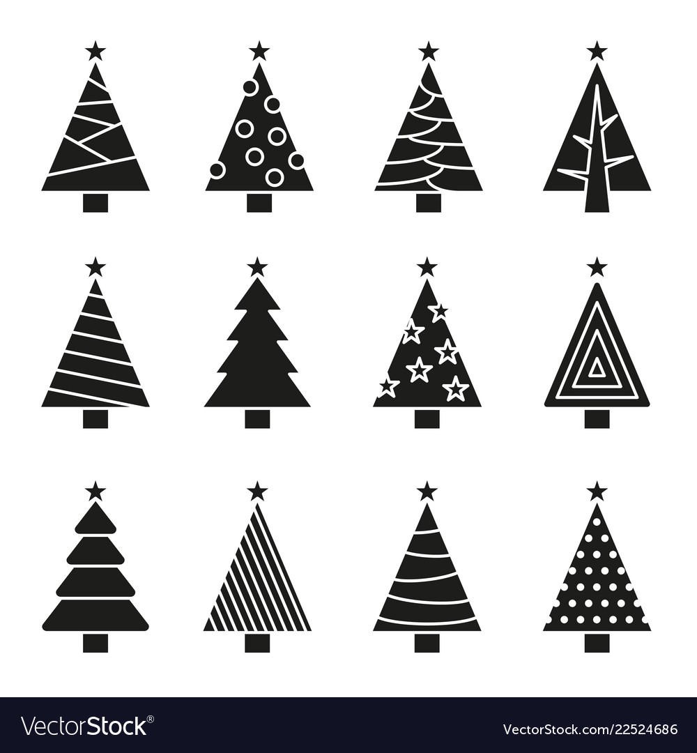 Christmas tree set concept tree icon collection