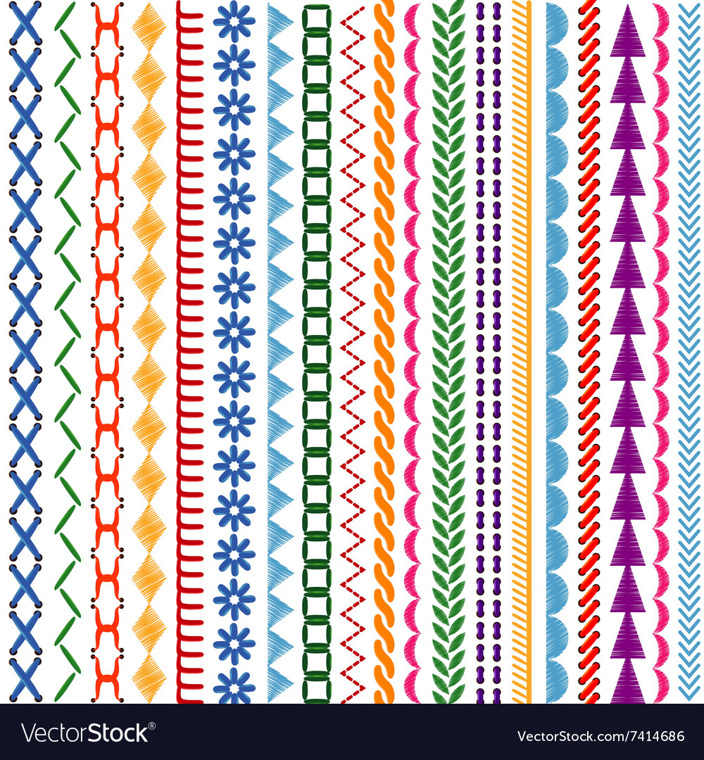 Embroidery Stitches Seamless Patterns And Vector Image