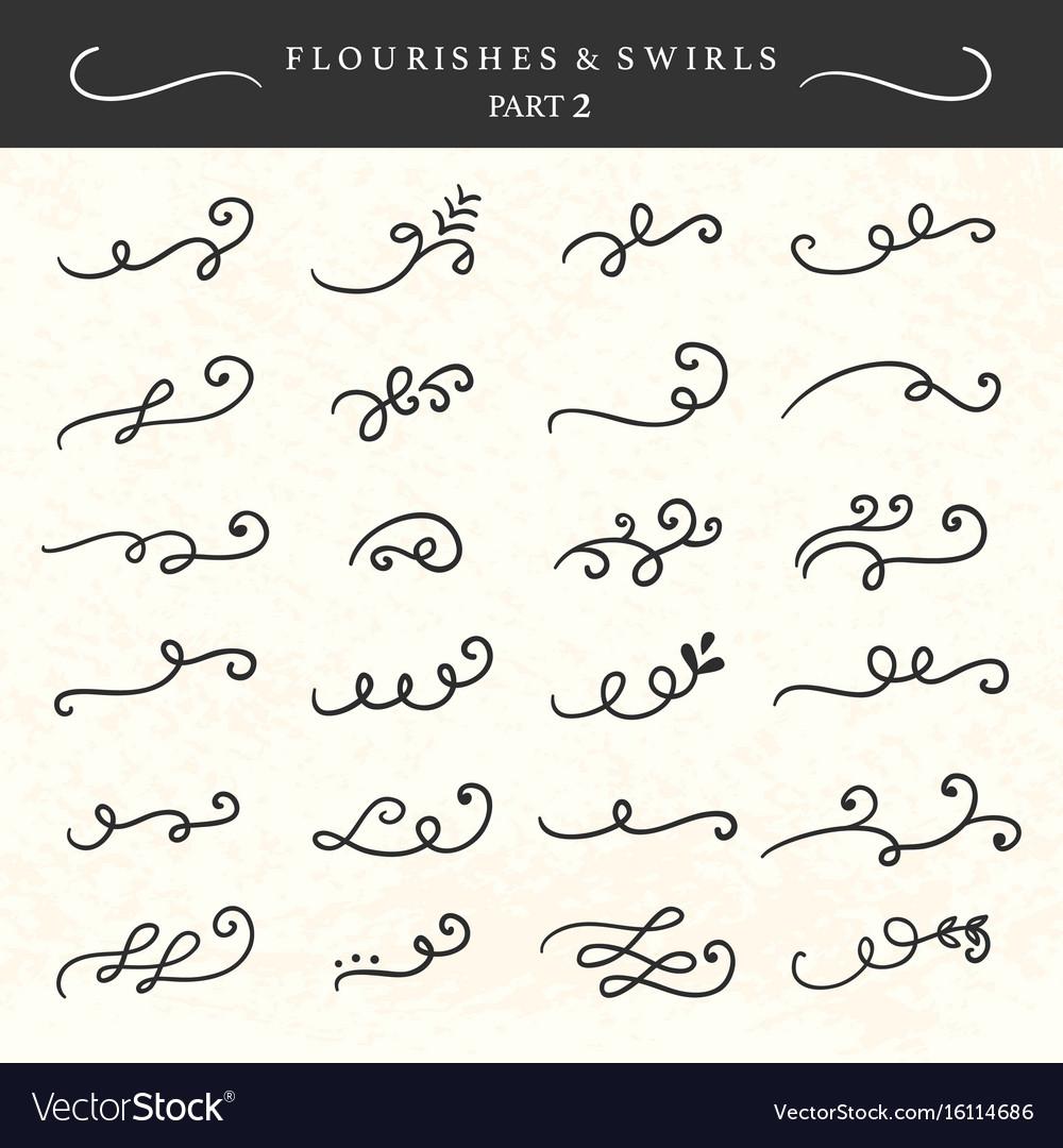 Flourishes swirls curls and scrolls set