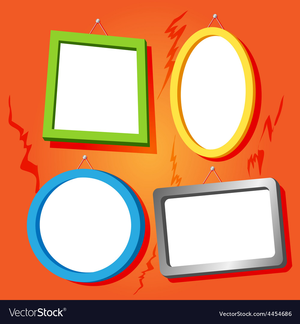 Frames on cracked wall vector image