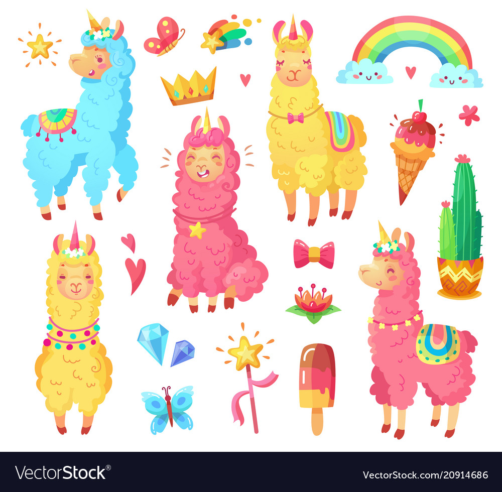 Funny mexican smiling alpaca with fluffy wool and vector image