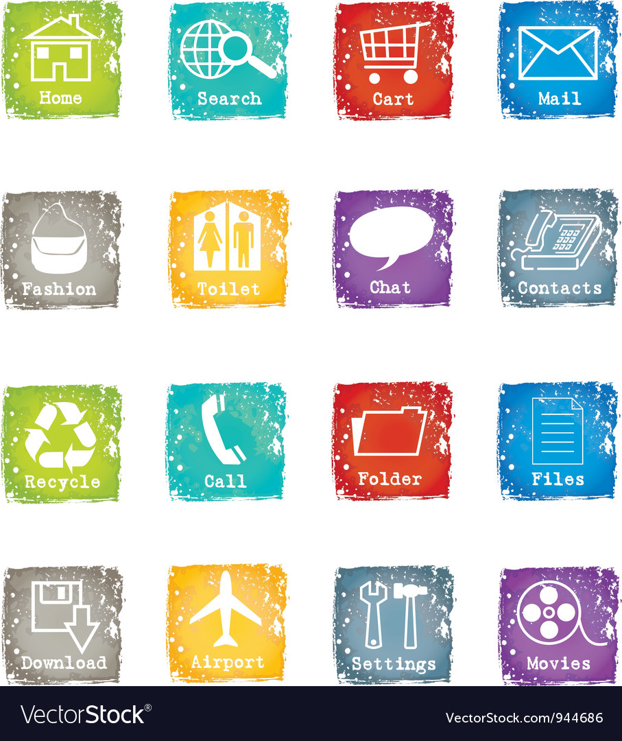 Icon set grunge for web and internet