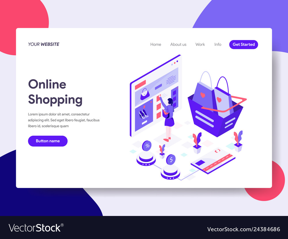 Landing page template of online shopping concept