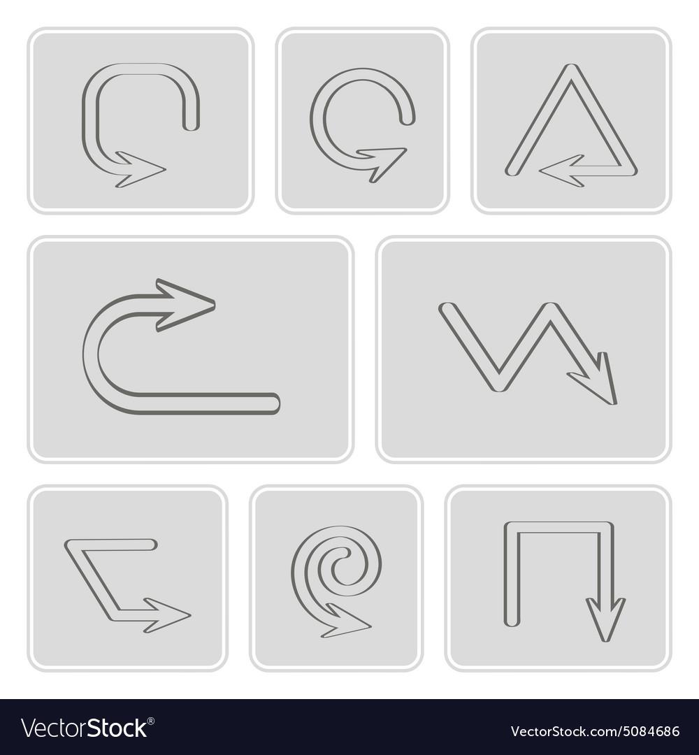 Monochrome icons with arrow symbols