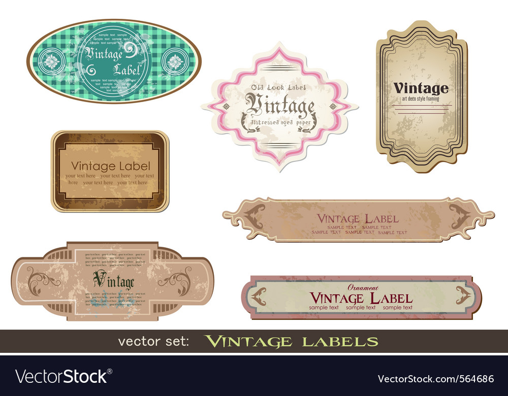 Set of vintage labels