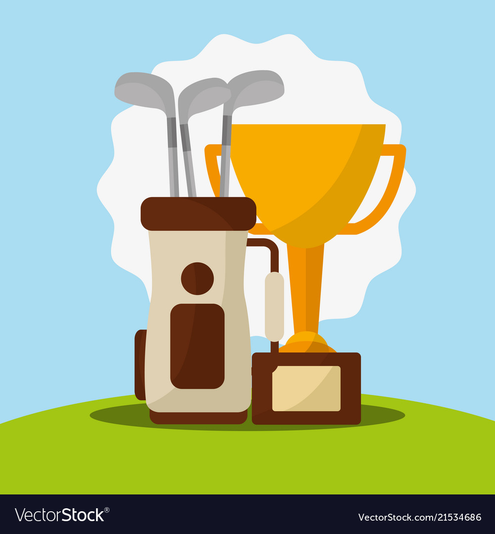 Trophy Golf Clubs In Bag Champion Royalty Free Vector Image