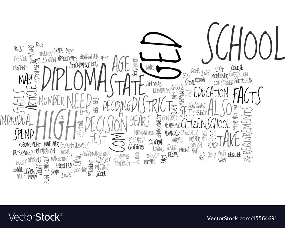 a diploma or a ged some important facts text word vector image