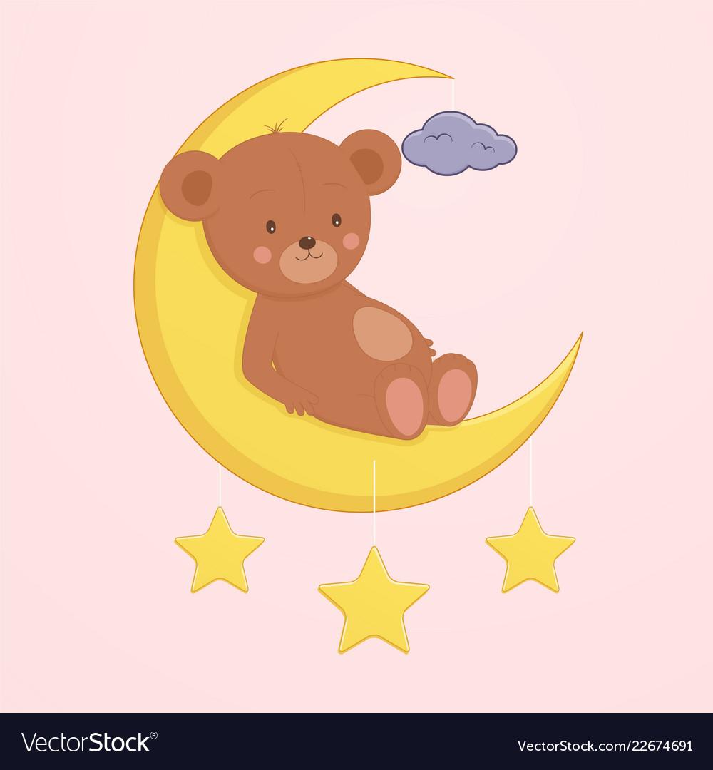Cute bear is sitting on moon