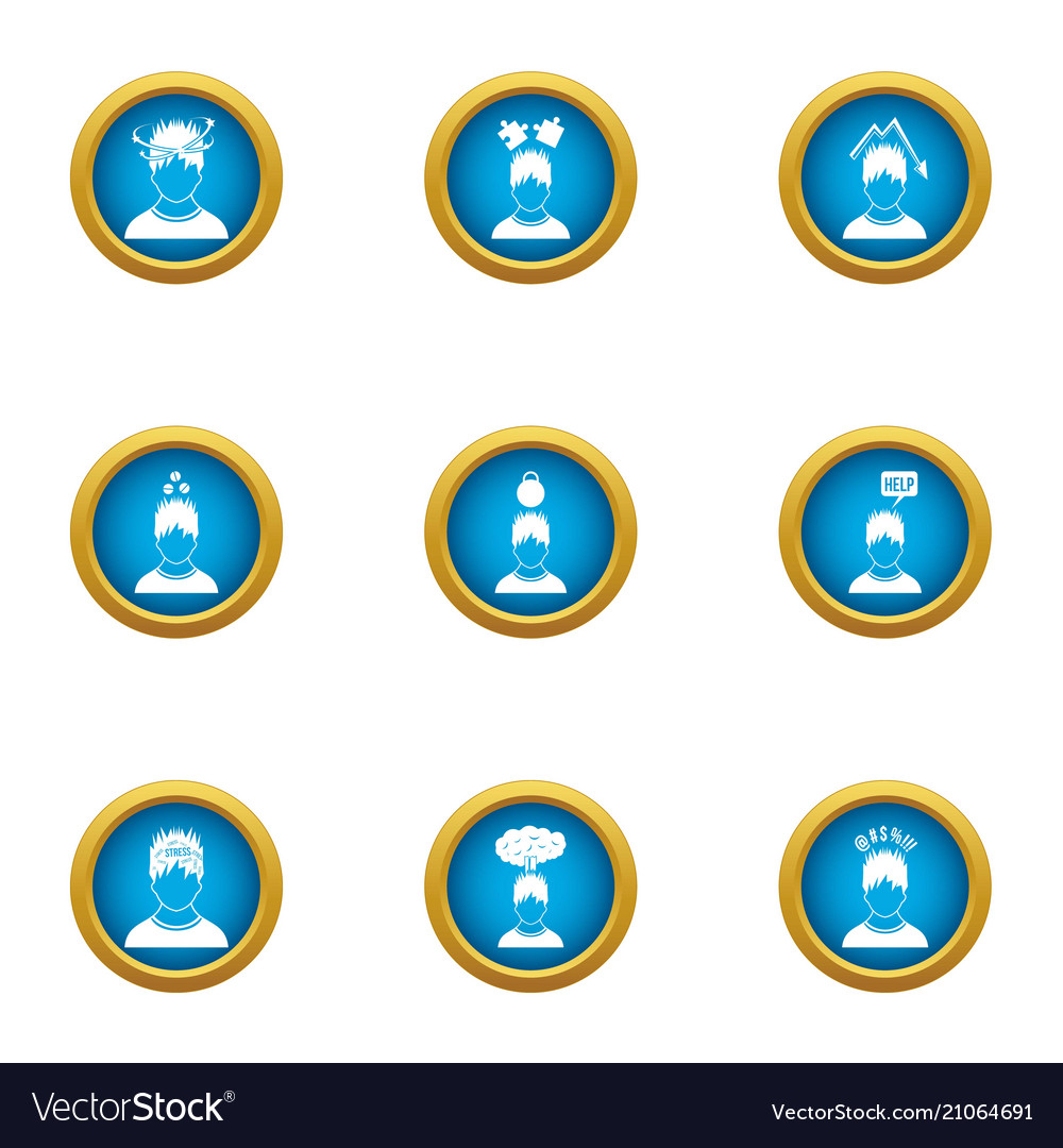 Emotional connection icons set flat style vector image