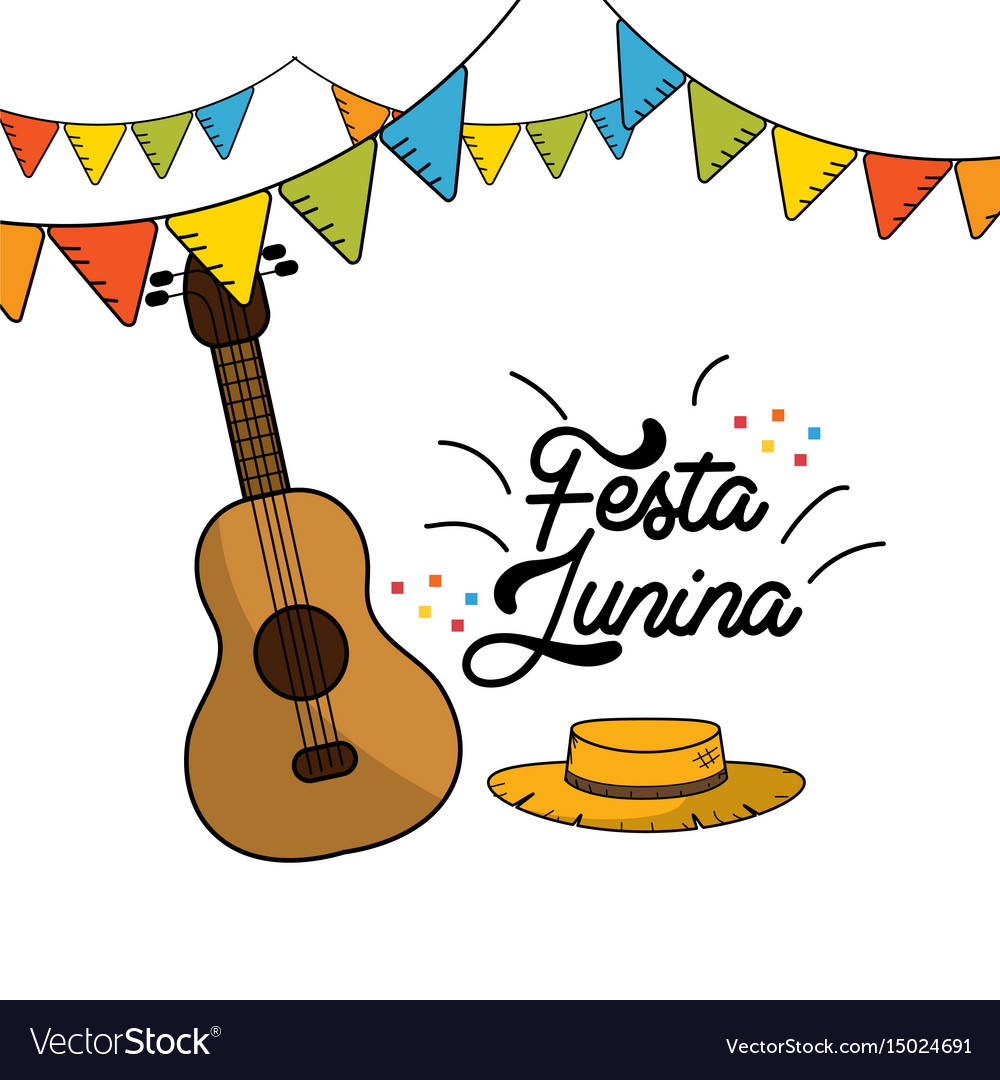 Festa junina with guitar and hat with flags party vector image