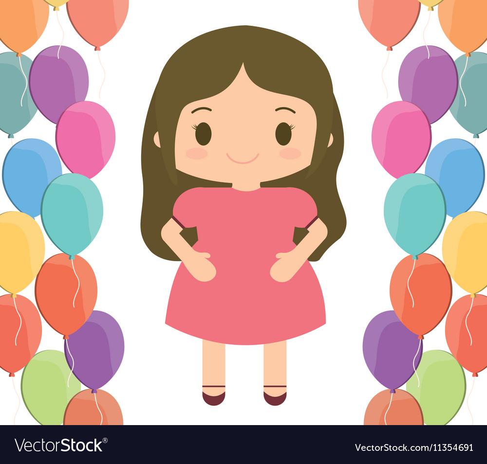 Girl cartoon and happy birthday design