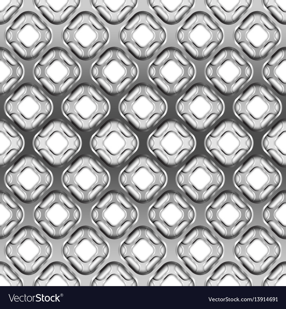 Glossy metallic grid with shadow seamless pattern