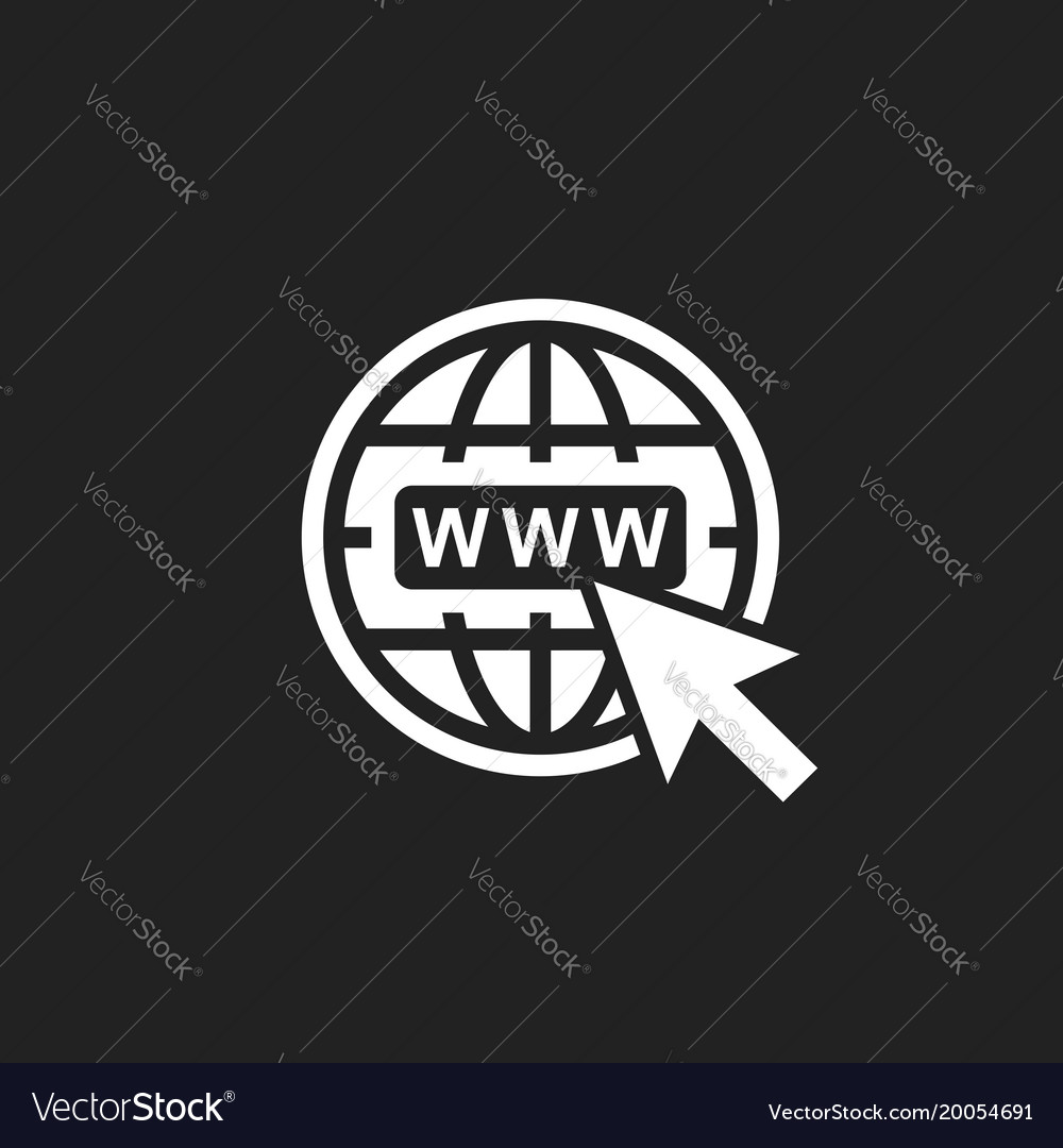 Go to web icon internet flat for website on black vector image