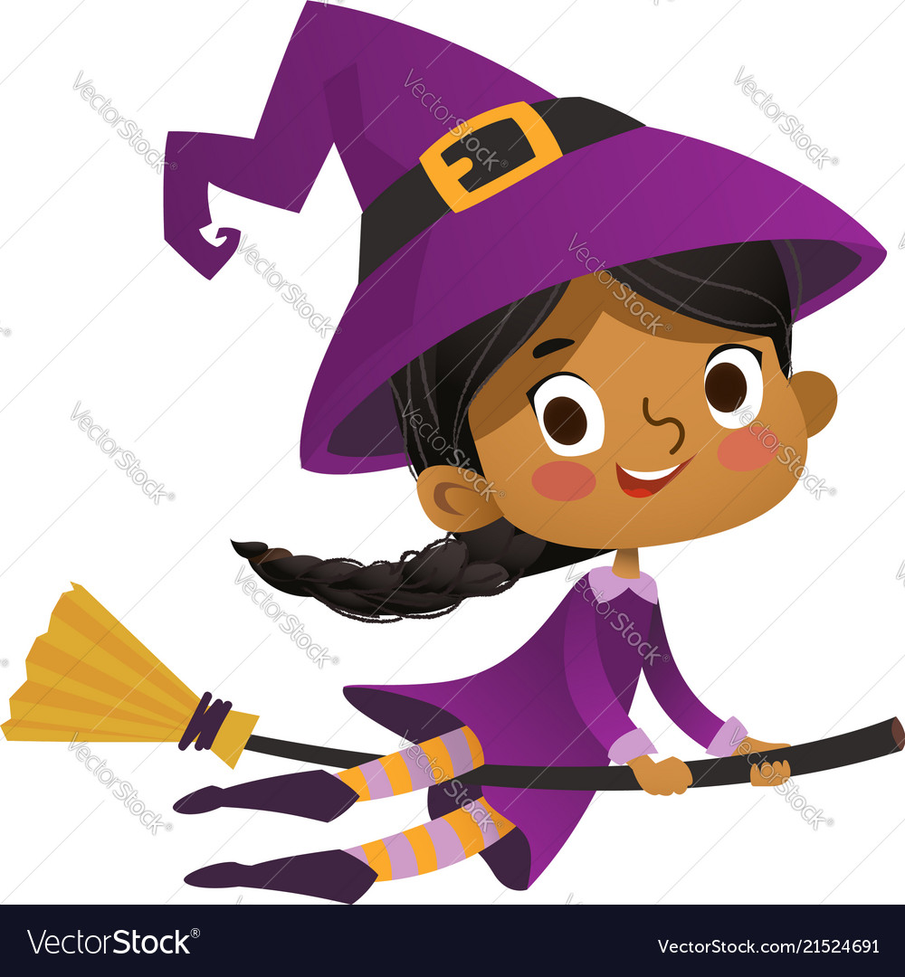 Halloween african-american flying little witch