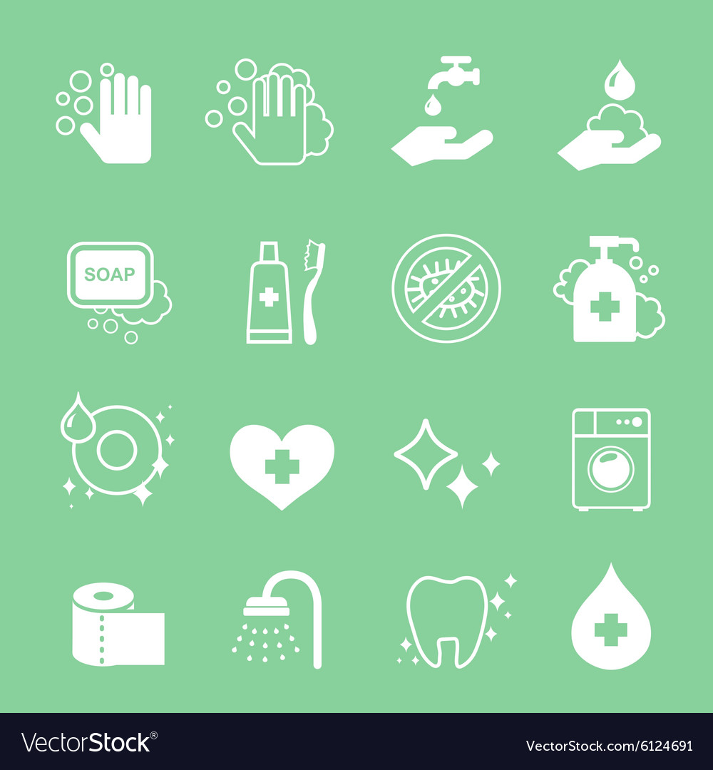Hygiene and cleaning icons set Hand wash soap vector image