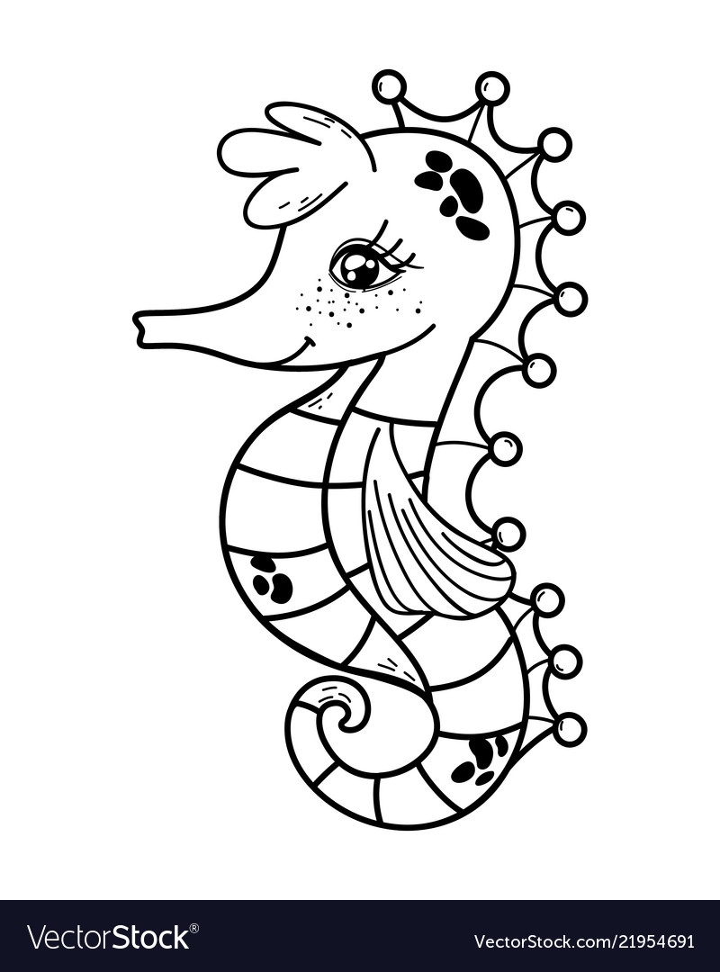 Outline Cute Seahorse Tropical Sea Animal Vector Image