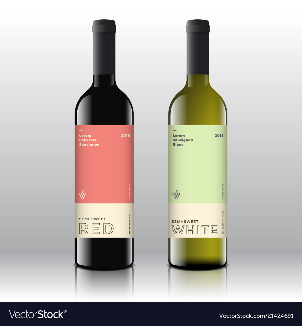 Premium quality red and white wine labels set on