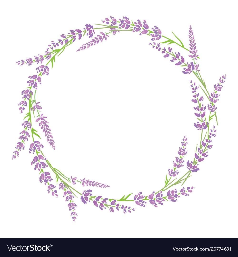 Purple green lavender flowers wreath arrangement