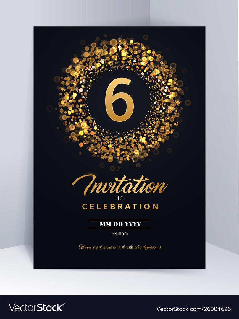 6 Years Anniversary Invitation Card Template