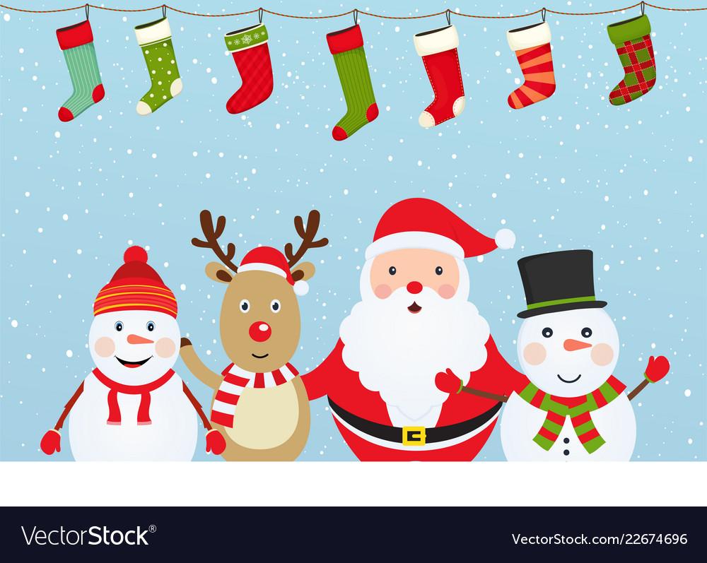 Christmas composition with santa claus snowman