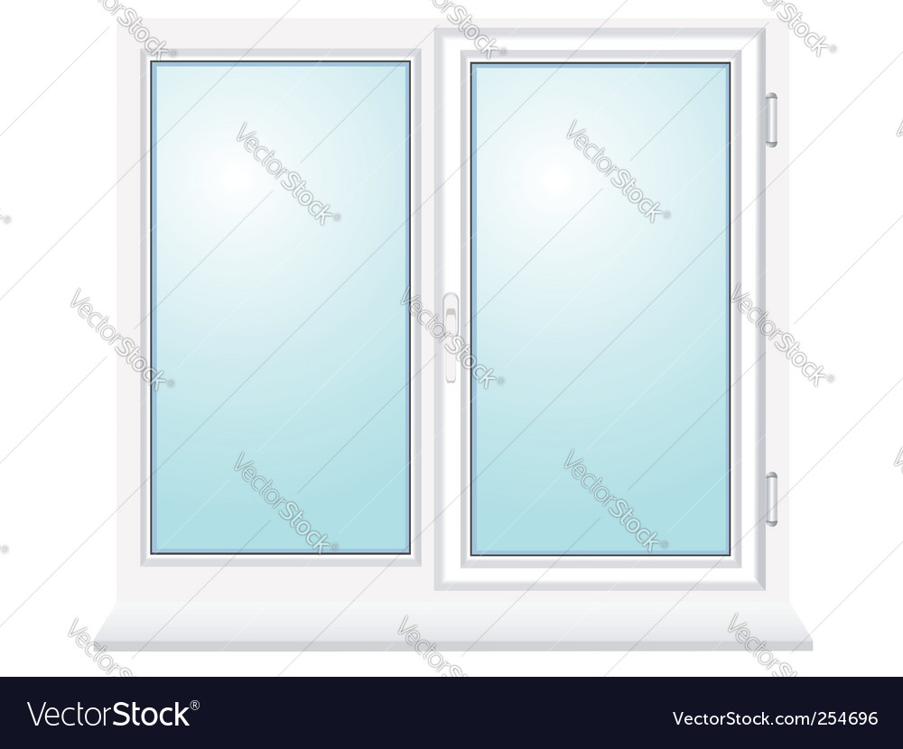 Closed plastic glass window illustration