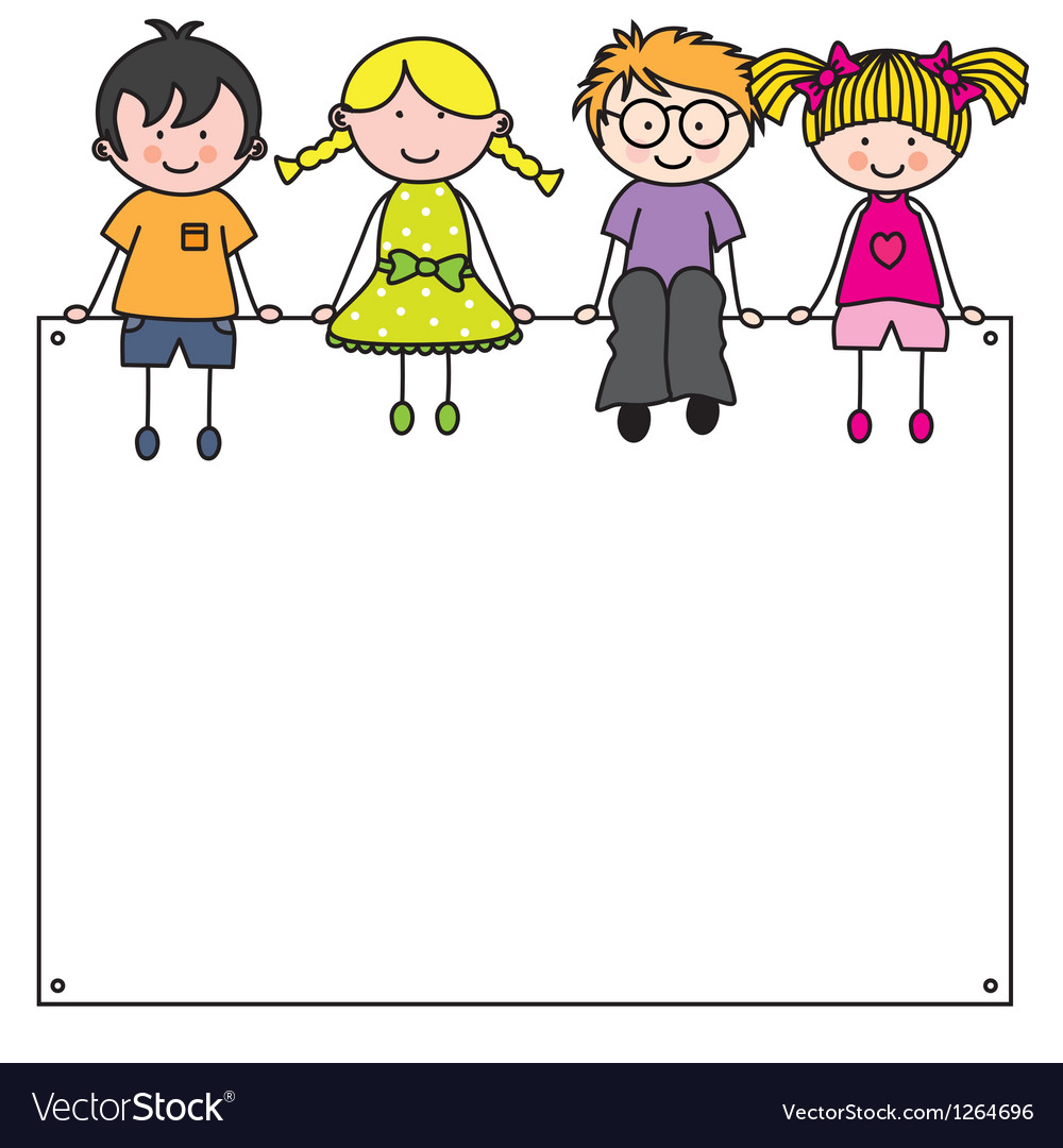 Cute cartoon kids frame Royalty Free Vector Image