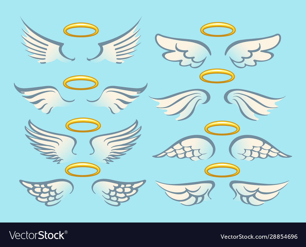 Flying angel wings with gold nimbus set