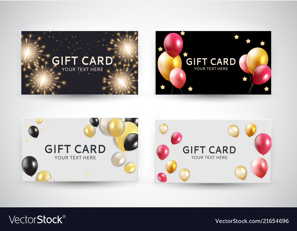Gift card template with balloons