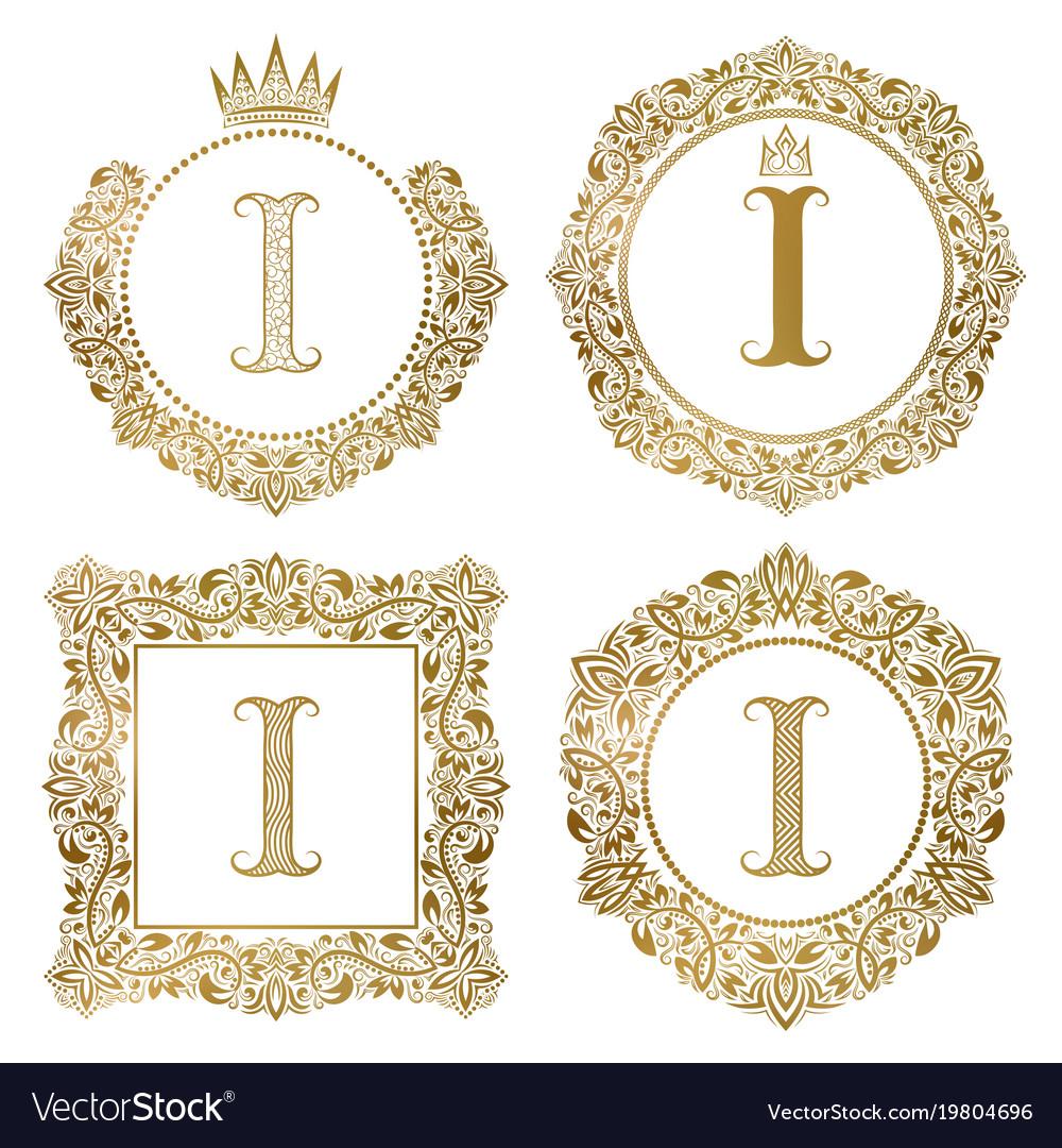 Golden letter i vintage monograms set heraldic vector image