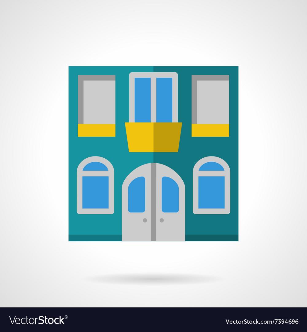 House facade flat color icon