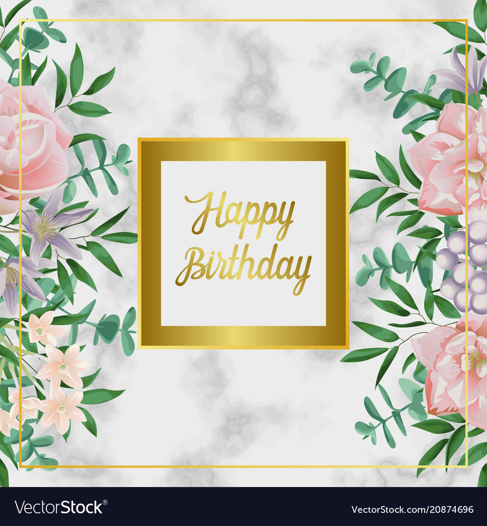 Luxury Happy Birthday Card With Pink Flowers On