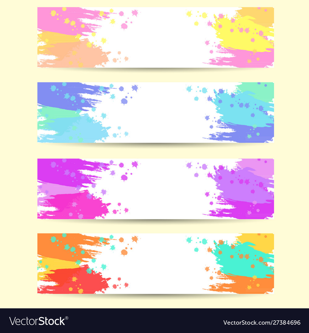 Set banners abstract headers with varicolored