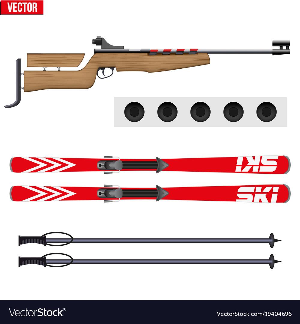 Set of biathlon sport vector image