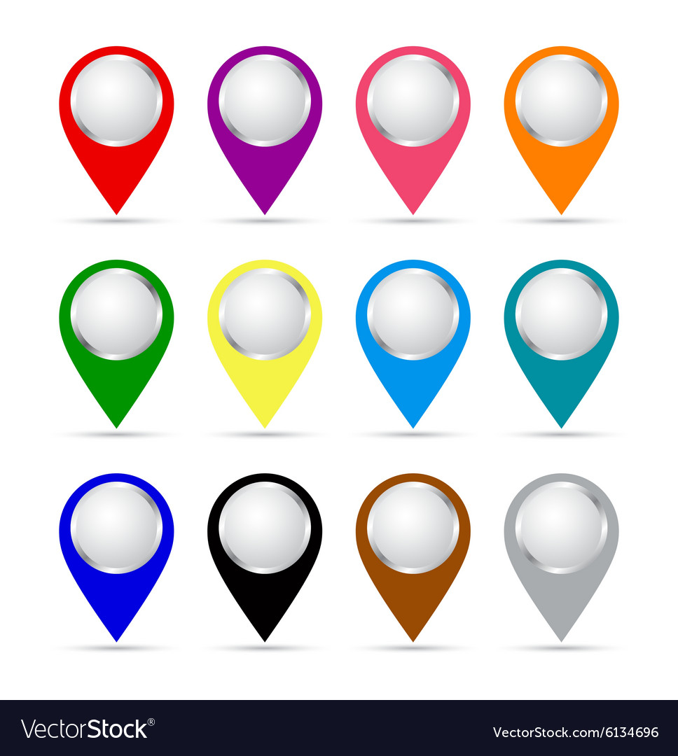 Set of paper map pointers vector image