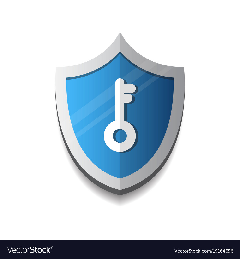 Shield with key icon protection and security