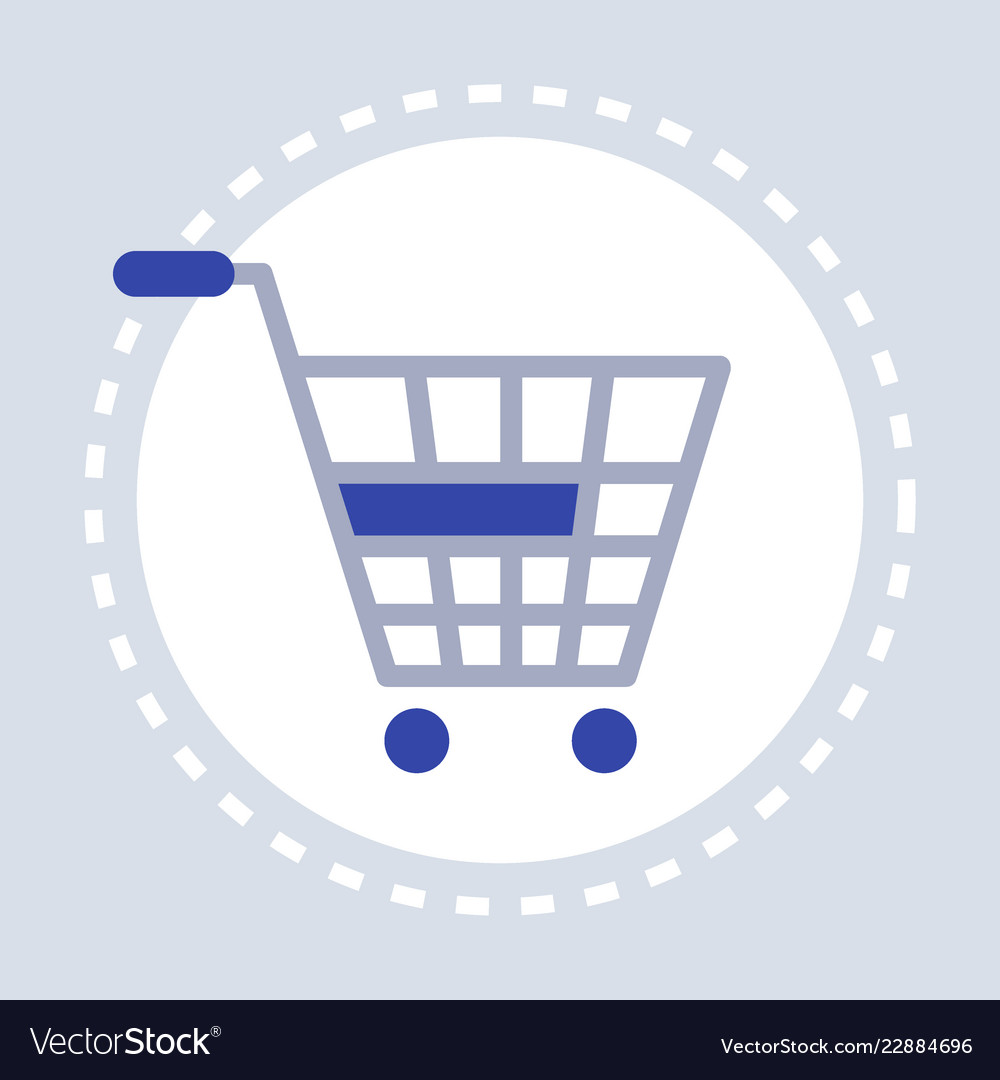 Trolley cart shopping icon concept flat