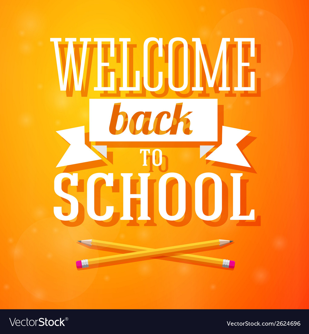 Welcome back to school greeting card with crossed vector image m4hsunfo