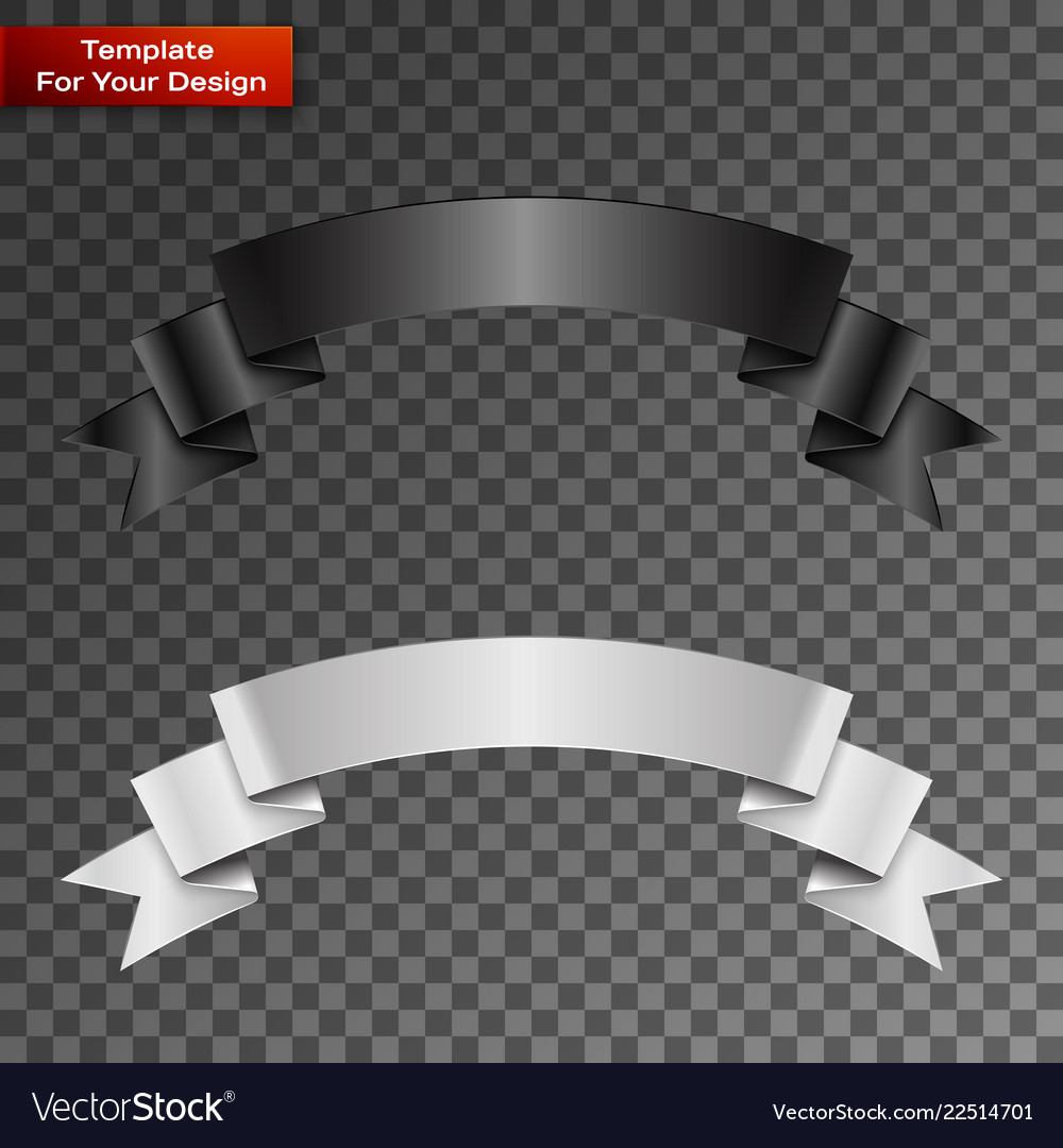 Black and white ribbon on transparent background