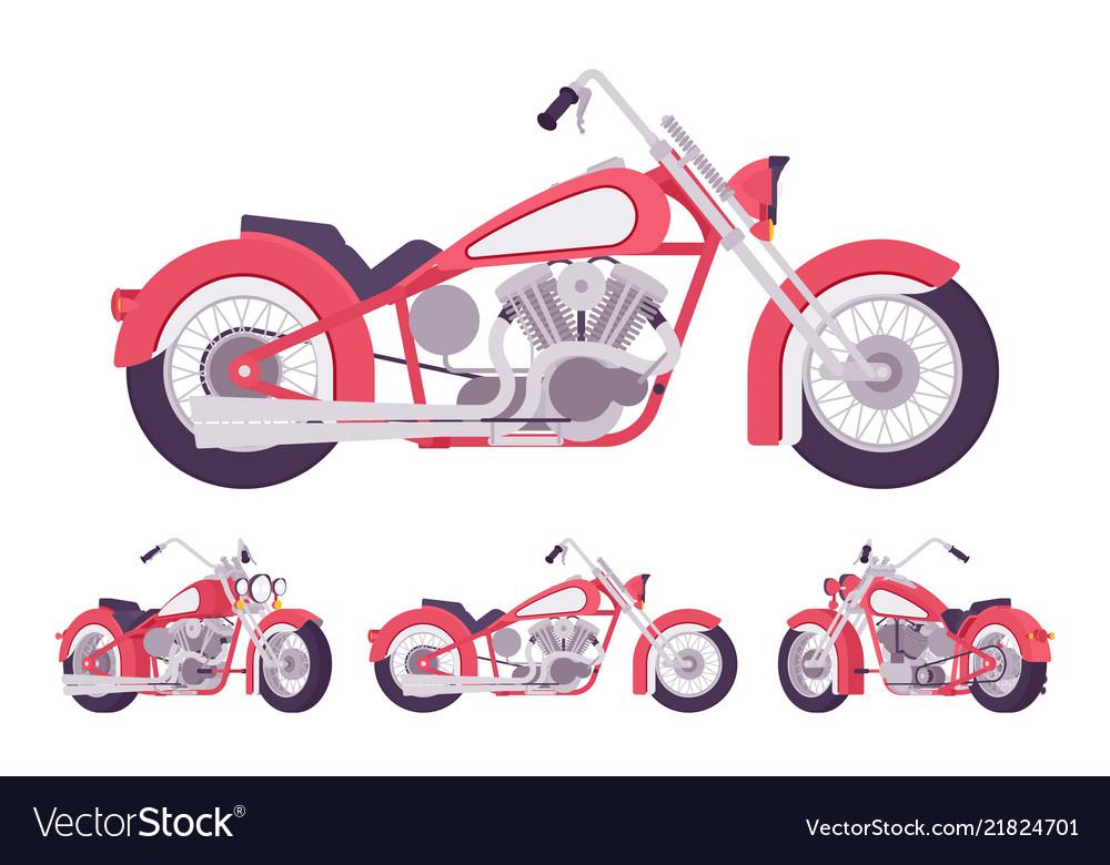 Chopper custom motorcycle set in bright red
