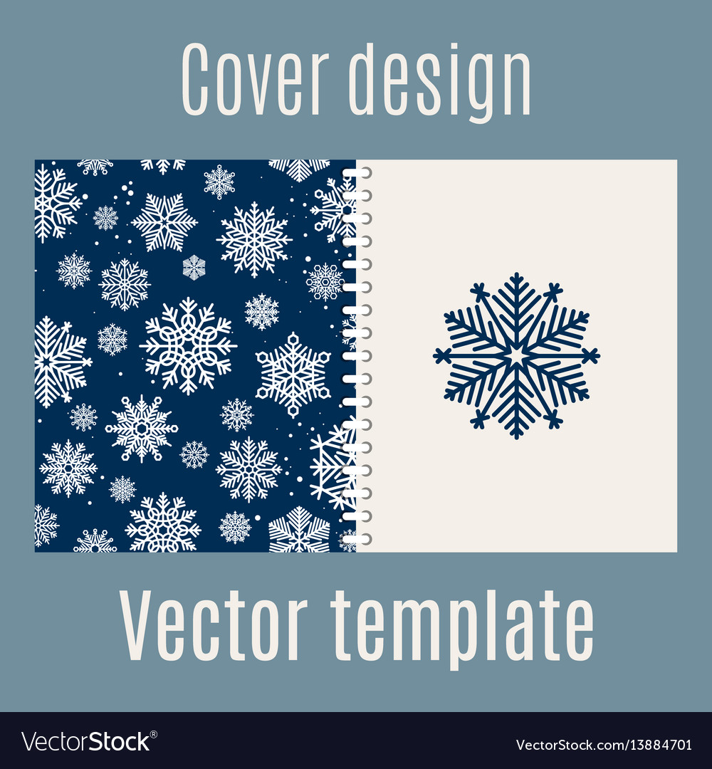 Cover design with blue snowflakes pattern