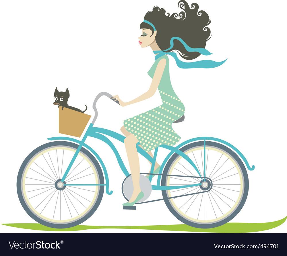 Girl cycling vector image