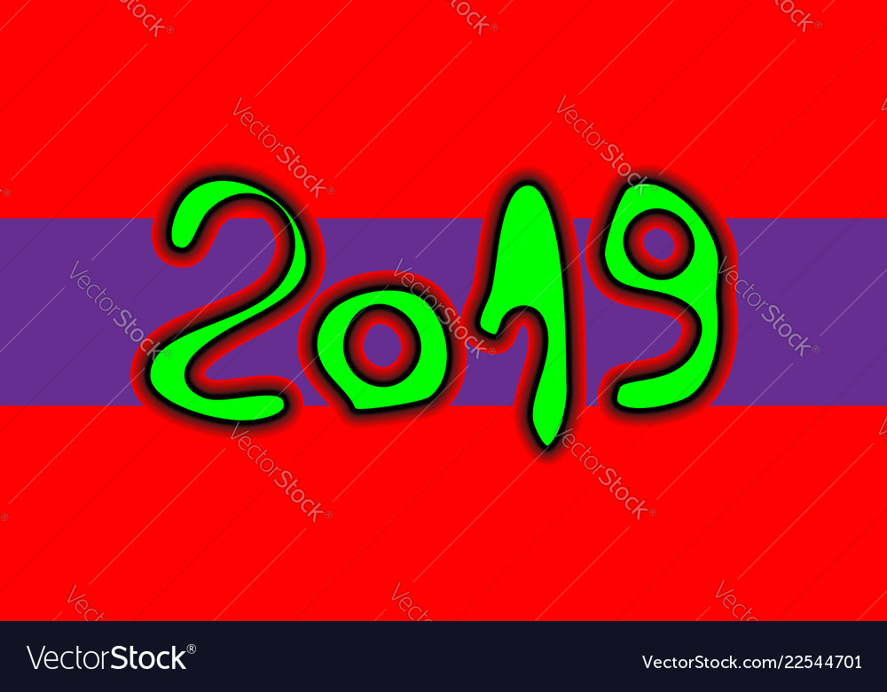 Happy new year numbers 2019 of brush stroke