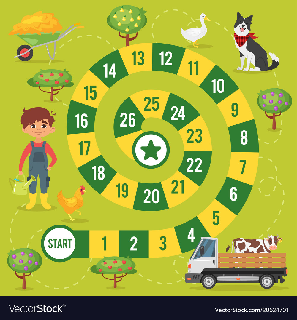 graphic about Printable Board Games for Kids named Children farm board activity